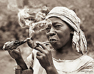 Ma Tante, our neighbour and friend, smoking her pipe