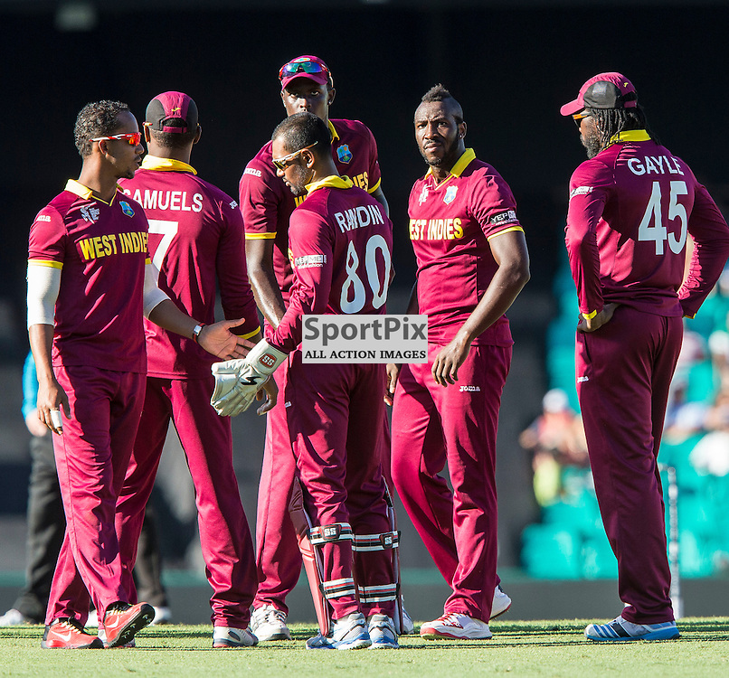 ICC Cricket World Cup 2015 Tournament Match, South Africa v West Indies, Sydney Cricket Ground; 27th February 2015<br /> West Indies after the wicket of South Africa&rsquo;s Rilee Rossouw