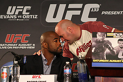 August 4, 2011; Philadelphia, PA; USA; UFC President Dana White speaks with Rashad Evans at the final press conference for UFC 133 at the Independence Visitors Center.