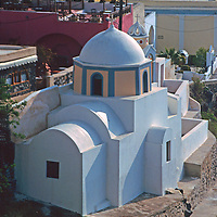 Europe, Mediterranean, Aegean, Greece, Greek Islands, Santorini, Thira. Scenic church of Santorini.
