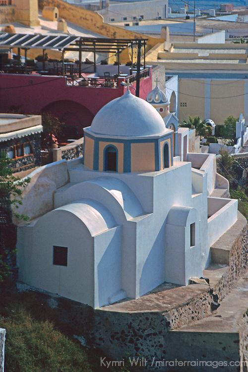 Europe, Mediterranean, Aegean, Greece, Greek Islands, Santorini, Thira. Scenic church of Santorini.