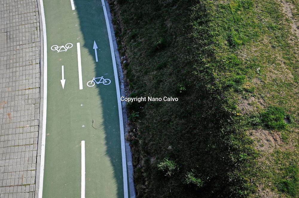 Aerial view of bike lane