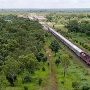 The Ghan.  The Ghan train near Katherine, Northern Territory, Australia.
