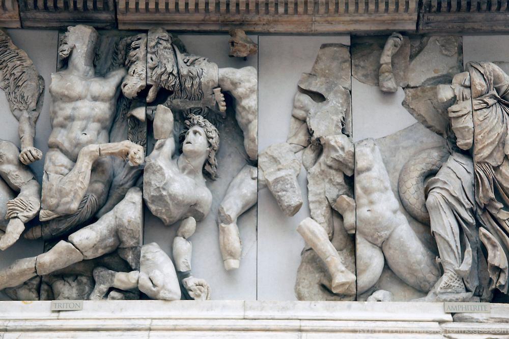 Europe, Germany, Berlin. Triton Frieze at Pergamon Museum.