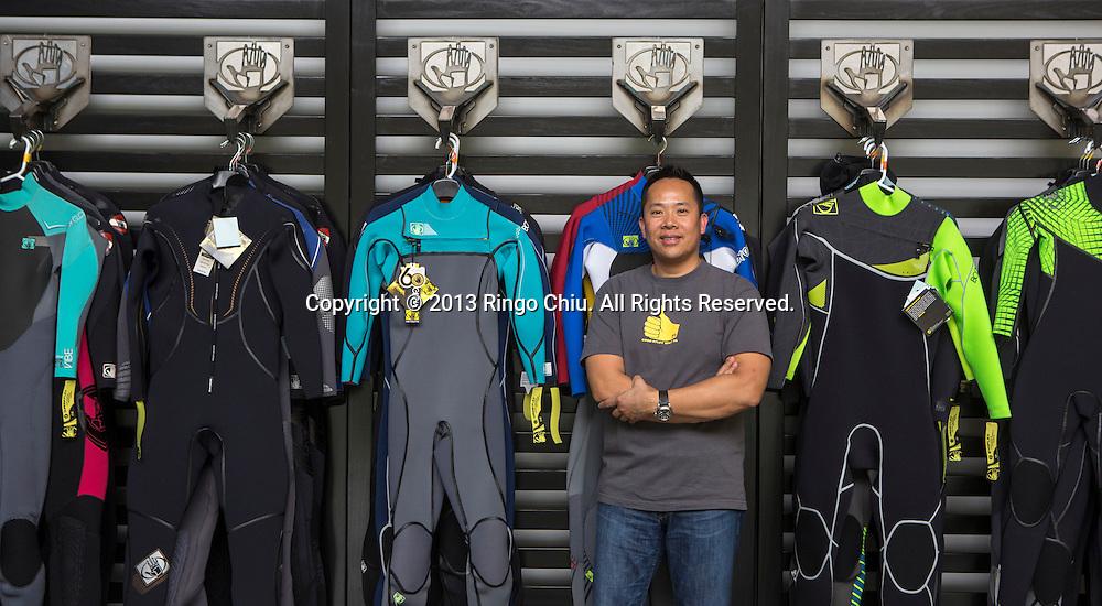 Joseph Lin, CEO of Sport Dimension Inc., makes Body Glove in Carson, California. (Photo by Ringo Chiu/PHOTOFORMULA.com)