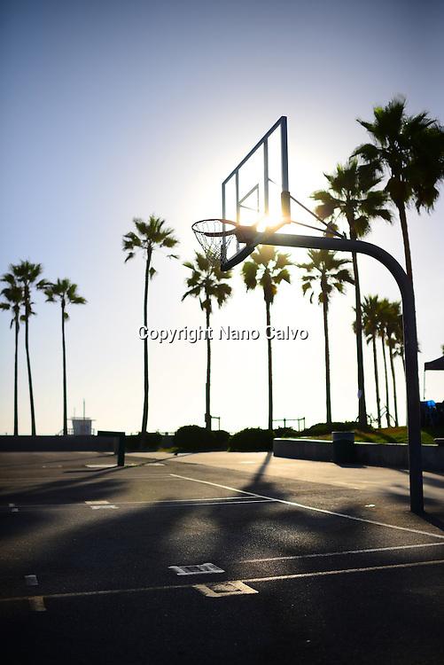 Street basketball court in Venice Beach, California.