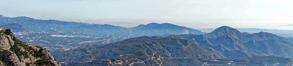 A panoramic view from the mountain-top at Montserrat in Catalonia, Spain.