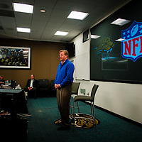 JACKSONVILLE, Fla, (November 8, 2012) -- NFL commissioner Roger Goodell speaks to season ticket holders during a fan forum during a NFL game between the Jacksonville Jaguars and Indianapolis Colts in Jacksonville, Fla., on Thursday, November 8, 2012.   (PHOTO / CHIP LITHERLAND)