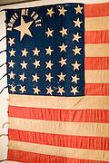 "Topeka, Kansas KS, USA, Kansas museum of History, Kansan ""Free State"" flags from the civil war"