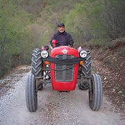 Zhare on his tractor near Konjsko, FYR Macedonia