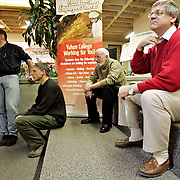 Ian Stewart/Yukon News<br /> IN THE WINGS... Yukon's federal election candidates wait to be introduced at the Yukon College all-candidates forum on Wednesday. From left, Darrell Pasloski, John Streicker, Ken Bolton and Larry Bagnell.