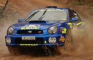 Dean Herridge & Glenn MacNeall .Cody Crocker & Greg Foletta.Subaru Impreza WRX.2003 Rally of Canberra .Canberra, ACT, Australia.25-27th of April 2003.(C) Joel Strickland Photographics
