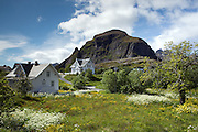 Beautiful houses in the village of Å i Lofoten at the southern end of Moskenesøya.