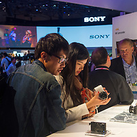 LAS VEGAS - JANUARY 10 : The Sony booth at the CES show held in Las Vegas on January 10 2014 , CES is the world's leading consumer-electronics show and companies from all over the world come to show their latest technologies and products.