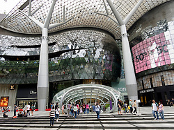 Exterior view of modern shopping mall in Orchard Road in Singapore