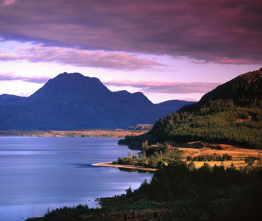 Evening light over Loch Loch Maree and a distant Ben Slioch, Wester Ross.