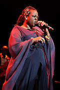 Singer Eska performs live on stage during the 'Baaba Maal: In Praise of The Female Voice' concert at the Royal Festival Hall on March 12, 2011 in London, United Kingdom. The concert was part of the 'Women Of The World' festival, celebrating the 100th anniversary of International Women's Day.  (Photo by Simone Joyner)