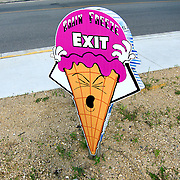 .Exit Sign at the Brain Freeze Ice Cream Shop along Hwy 22 in Wautoma.