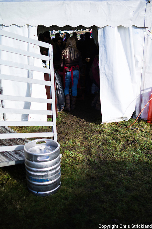 Spectators keep the beer tent busy during a days horse-racing in Kelso.