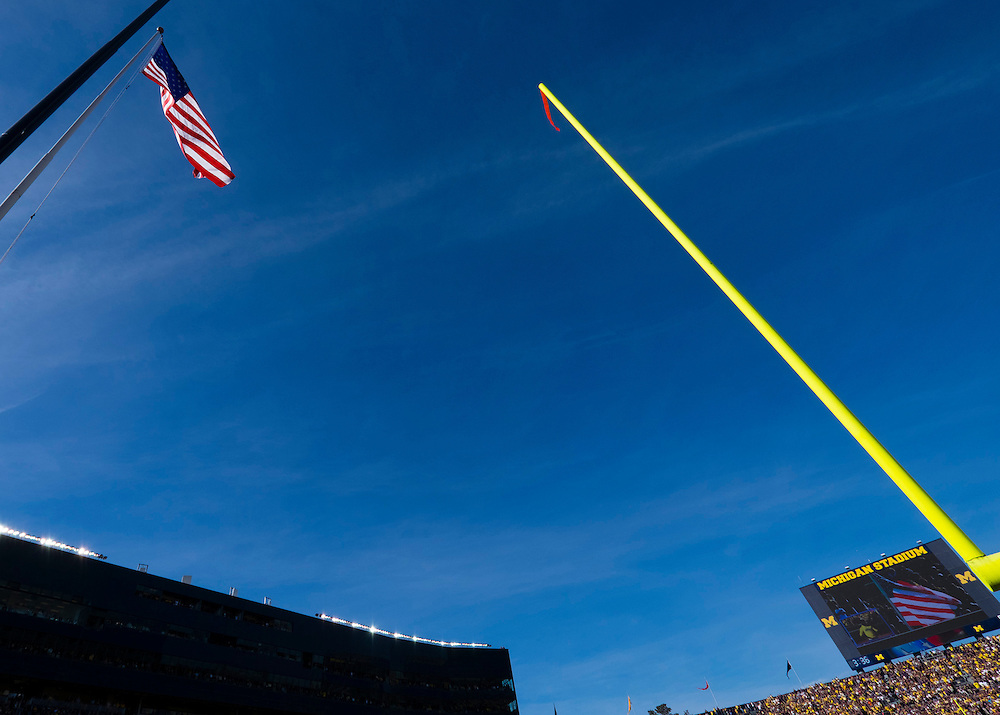 Oct 10, 2015; Ann Arbor, MI, USA; General view of the American flag during the national anthem prior to the game between the Michigan Wolverines and the Northwestern Wildcats at Michigan Stadium. Mandatory Credit: Rick Osentoski-USA TODAY Sports
