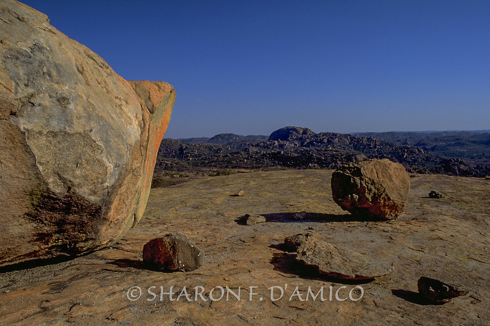 Giant Granite Boulders     and View of Matopos Landscape