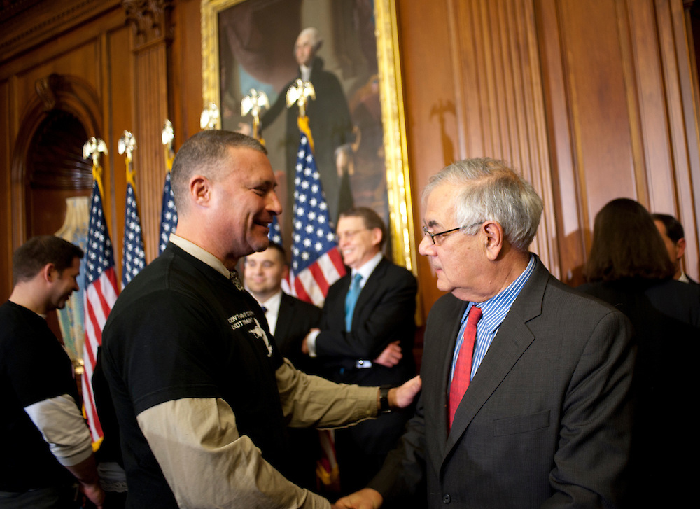 """Dec 15, 2010 - Washington, District of Columbia, U.S. -  STEFAN STENT, of Washington D.C., greets Rep. BARNEY FRANK (D-MA) at the U.S. Capitol on Wednesday after the U.S. House of Representatives passed a stand-alone version of a bill to repeal the """"Don't Ask Don't Tell"""" law. (Credit Image: © Pete Marovich/ZUMA Press)"""