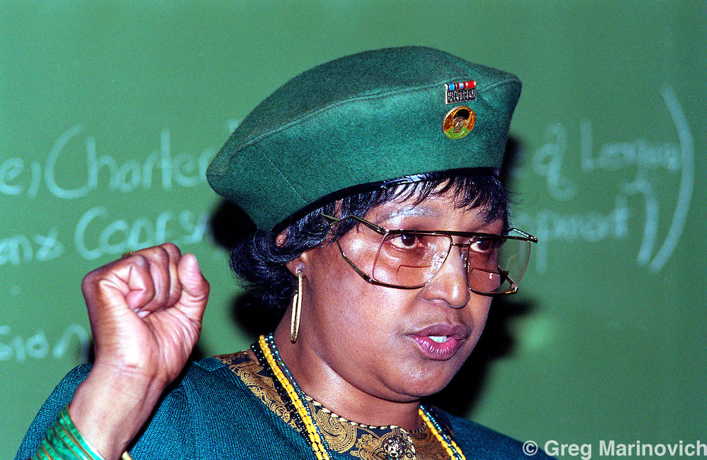 South Africa. 1992. Winnie Mandela at PWV Women's League AGM, 5 May 1992