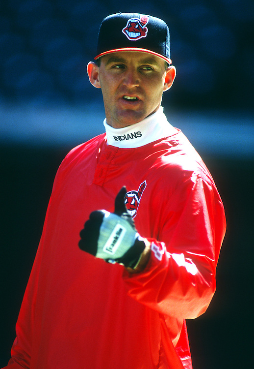 CLEVELAND - UNDATED:  Jim Thome #25 of the Cleveland Indians looks on during batting practice prior to an MLB game at Jacobs Field in Cleveland, Ohio.  Thome played for the Indians from 1991-2002.  (Photo by Ron Vesely)