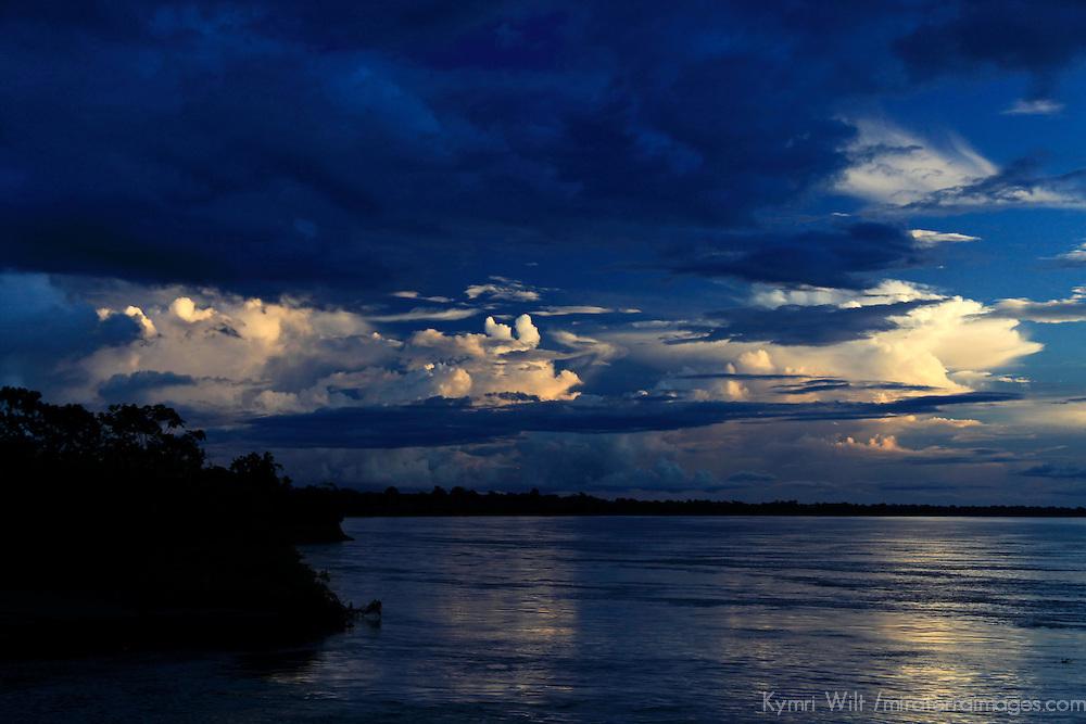South America, Peru, Amazon. Dark Amazon Sky.