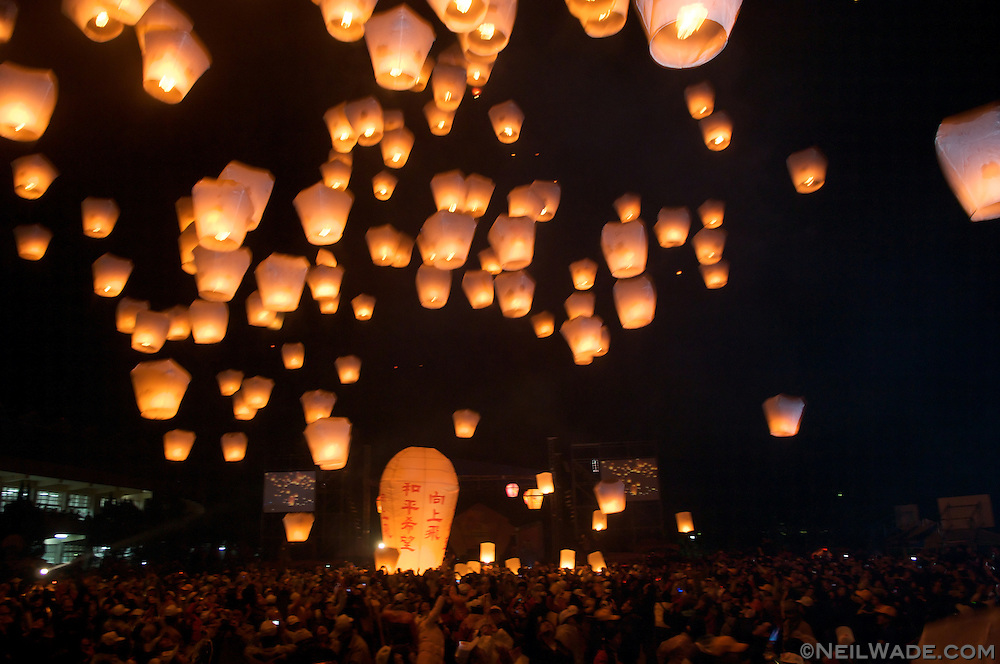 Sky lanterns are released in Taipei, Taiwan on Chinese Lunar New Year.