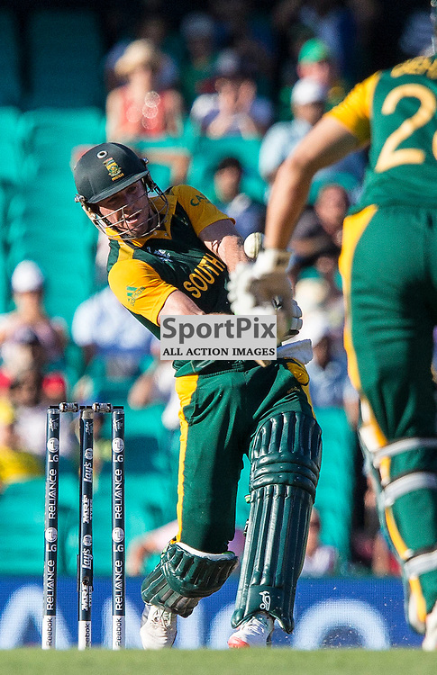 ICC Cricket World Cup 2015 Tournament Match, South Africa v West Indies, Sydney Cricket Ground; 27th February 2015<br /> South Africa&rsquo;s AB De Villiers smashes a six to reach his 100