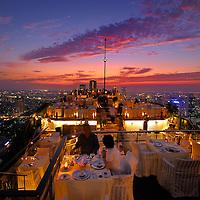 View over Bangkok with Restaurant Vertigo Grill at Banyan Tree Hotel, The Leading Hotels of the World, City, Bangkok, Thailand