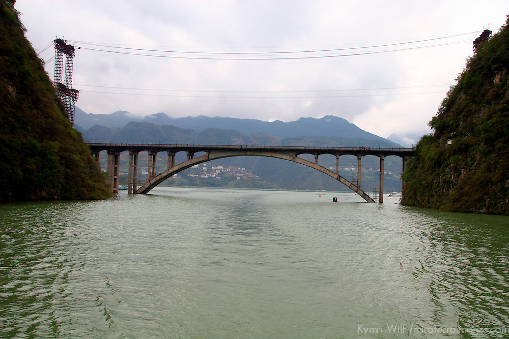 Asia, China, Yangtze River. Scene of the Dragon Gate Bridge depicting the rising water levels of the Yangtze River.