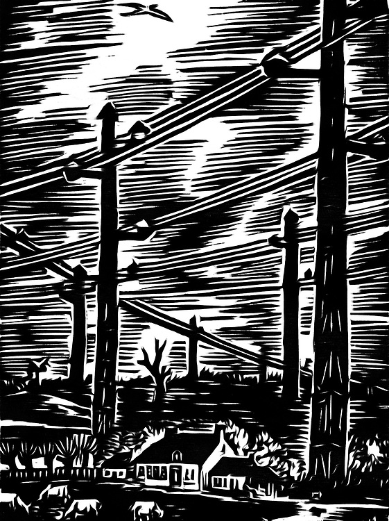 A black / white drawing of telephone poles in rural areas