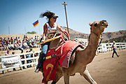A camel jockey rounds the turn at the 51st annual International Camel Races in Virginia City, Nevada  September 12, 2010. .CREDIT: Max Whittaker for The Wall Street Journal.CAMEL