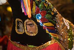 "Sao Luis, MA, Brasil    16/Jun/2006.Festa de Sao Joao. Grupo Pindoba, de Bumba-Meu-Boi de Matraca se apresentando no espaco reviver em Sao Luis. Bumba-meu-Boi danca do folclore popular brasileiro, com personagens humanos, animais e fantasticos, que gira em torno da morte e ressurreicao de um boi. / Popular farce which takes its form as a grand musical pantomime. Practice is a public affair and begins directly after Easter reaching its climax in June when literally hundreds of groups perform on a nightly basis for popular acclaim and pure enjoyment. The Festa Junina (""June Festival"" in English) are annual Brazilian celebrations which take place in the middle of winter and are most associated with Brazil's Northeast. .Foto Marcos Issa/Argosfoto"
