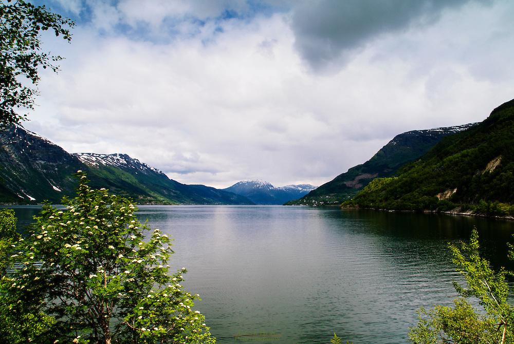 At view down Sørfjorden, a fjordarm of Hardangerfjord, Norway.