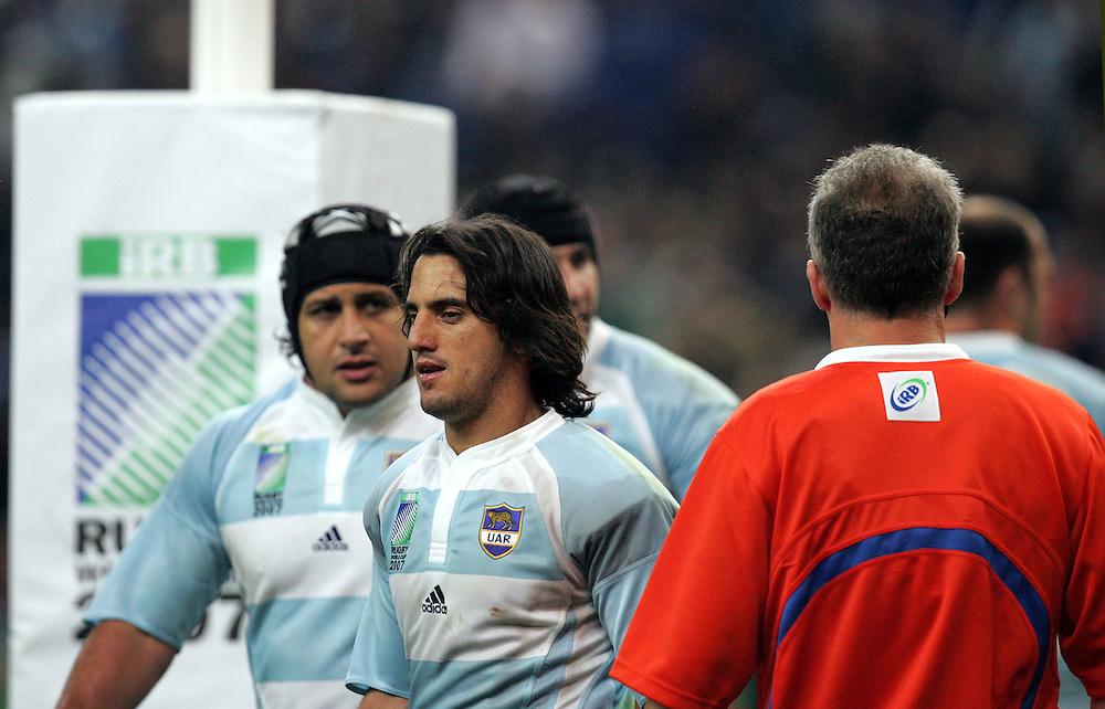 A dejected Augustin Pichot after Scotland score a try. Argentina v Scotland (19 - 13) Stade de France, St Dennis, 07/10/2007, Quarter Final Match 44. Rugby World Cup 2007..