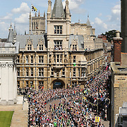 PIC BY GEOFF ROBINSON PHOTOGRAPHY 07976 880732.<br /> <br /> PIC SHOWS THE TOUR DE FRANCE GOING PAST GONVILLE AND CAIUS COLLEGE IN CAMBRIDGE ON MONDAY JULY 7TH.ITV CUT TO AN ADVERT BREAK WHICH RESULTED IN NON OF THE ICONIC CAMBRIDGE SCENES BEING SHOWN.<br /> <br />  Furious viewers have taken to Twitter and Facebook to complain after ITV cut away from the Tour de France for an ADVERT BREAK as cyclists rode past Cambridge's iconic colleges.<br /> <br /> The national TV coverage by ITV4 showed crowds yesterday (Mon) watching the riders start Stage 2 of the famous cycling race at Parker's Piece in the city centre.<br /> <br /> But it immediately cut to an advert break instead of showing the cyclists riding past the city's famous sights - including Cambridge University's King's College, St John's College, Trinity College and the Senate House.<br /> <br /> It meant the television audience of 3.5 billion people missed seeing the cyclists in Cambridge, a moment many had waited months to watch.<br /> <br /> When the coverage returned the riders had already been down King's Parade and were heading down Trumpington Street - out of the city centre.<br /> <br /> Many viewers took to Facebook and Twitter to show their frustration with the &quot;farcical&quot; coverage.<br /> <br /> SEE COPY CATCHLINE  ITV cuts Cambridge in Tour coverage
