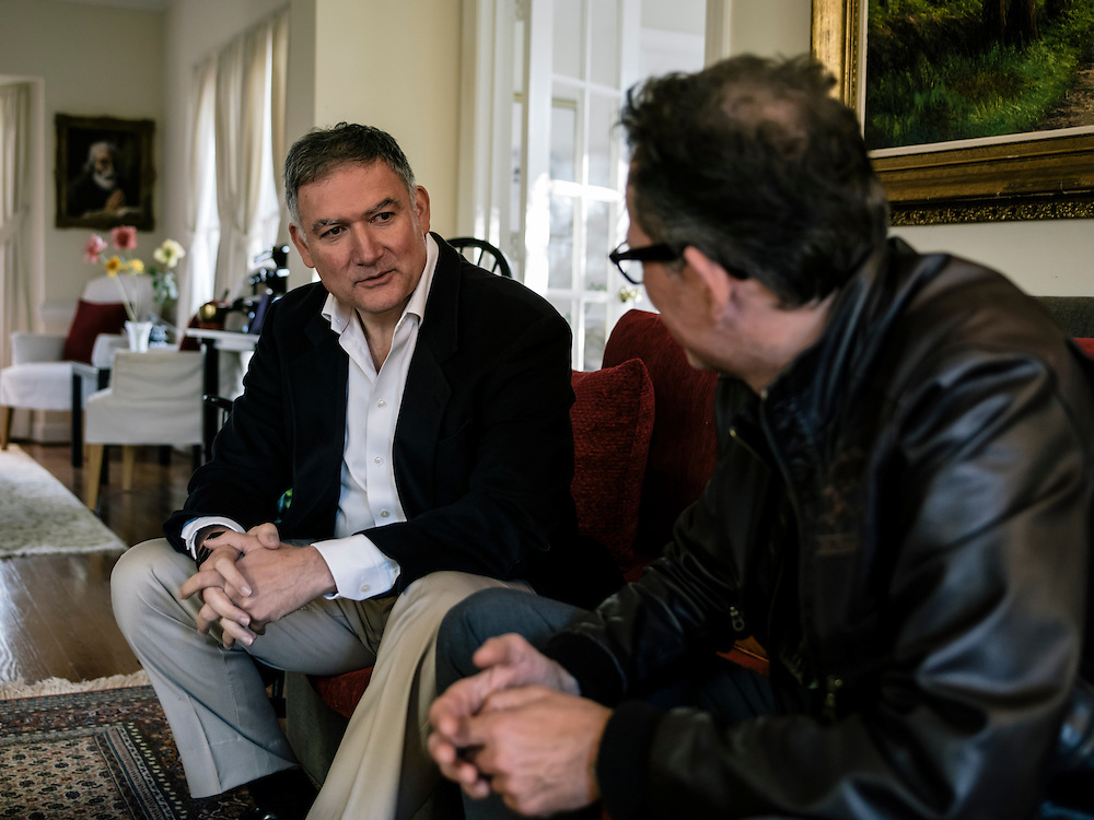 Andreas Georgiou, former Greek head of the official statistics service, left, speaks with stern reporter Andreas at Georgiou's home in Maryland.