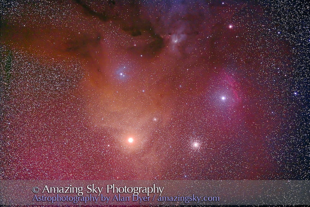 Antares and M4. Taken with Borg 77mm astrographic refractor at f/4.3 and Hutech-modified Canon 5D for stack of 5 x 8 minute exposures at ISO 400. Taken from Coonabarabran, NSW, Australia, April 18, 2007.