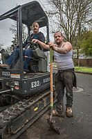 """""""Dad is old school...I've worked with him since I was fourteen.""""  -Fairfield resident Robbie Dulle replaces a water pipe with his father, Phil, at a construction site on Myrtle Street in Calistoga"""
