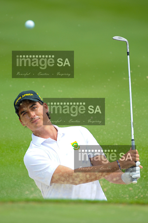 MALELANE, SOUTH AFRICA - Tuesday 17 February 2015, Hendrikus Stoop of South Africa plays out of the bunker during the practise round of the annual Leopard Trophy, a 2 day test between teams of the South African Golf Association and the ScottishGolf Union, at the Leopard Creek Golf Estate.<br /> Photo Roger Sedres/ Image SA