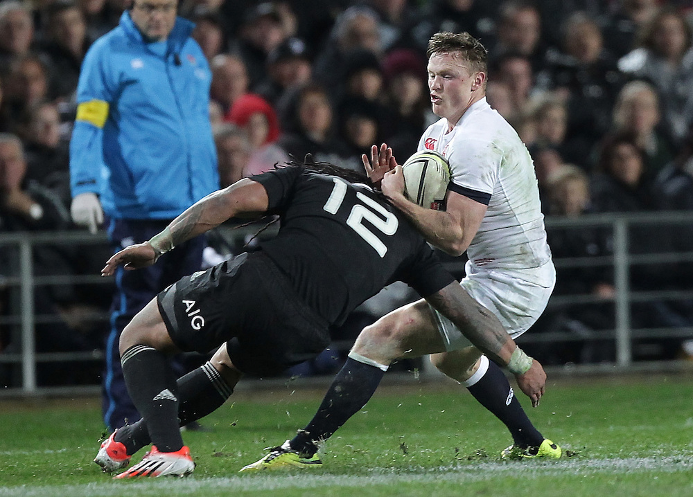 England's Chris Ashton is tackled by New Zealand's Ma'a Nonu in an International Rugby Test match, Waikato Stadium, Hamilton, New Zealand, Saturday, June 21, 2014.  Credit:SNPA / David Rowland