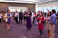 Gathering for a reception at Bloomberg HQ before the start of the 2009 SAJA Convention