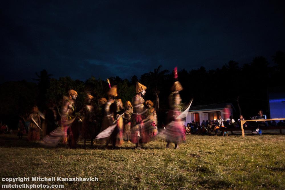 Traditional/Kastom dancers performing for local people at Pellonk at Uleveo, Maskelyne Island, Malampa Province, Malekula, Vanuatu