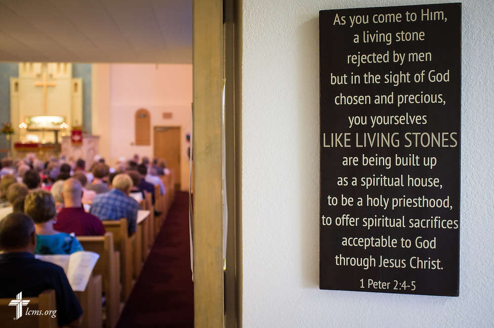 "A Bible verse adorns the wall on Sunday, August 9, 2015, during a ""Day of Thanksgiving and Rededication""  at St. John's Lutheran Church in New Minden, Ill. Nearly two years ago, a tornado damaged the church and surrounding homes. LCMS Communications/Erik M. Lunsford"