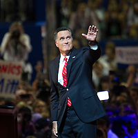 MITT ROMNEY  waves to the audience during day four of the RNC at the Tampa Bay Times Forum in Tampa Thurs. Aug. 31, 2012.