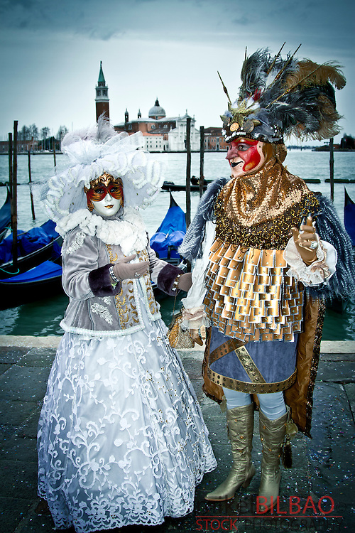 people with fancy dress in Carnival. <br />