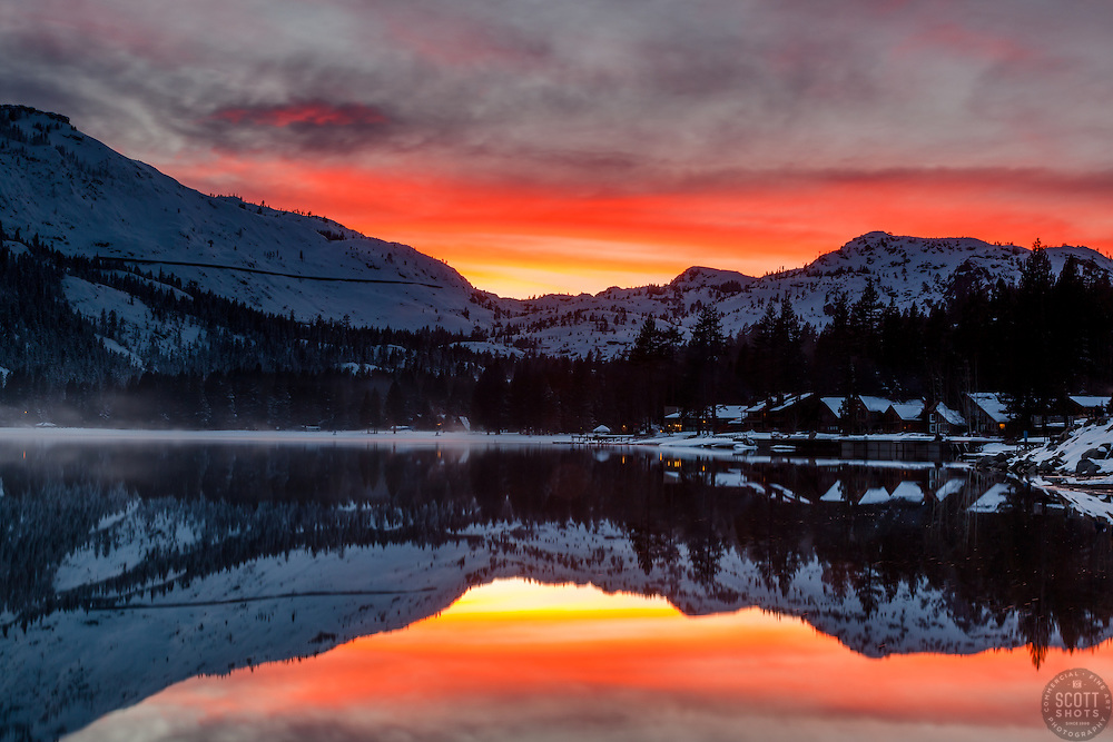 """""""Donner Lake Sunset 28"""" - Photograph of Donner Summit and the West end of Donner Lake at Sunset."""